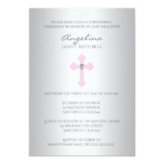 Elegante silberne rosa Quermädchen-Taufe-Taufe Karte