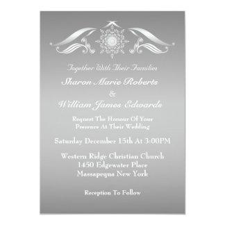 Elegante silberne weiße Winter-Hochzeits-Einladung Karte