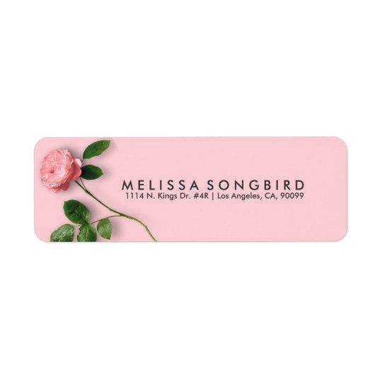 Elegante Single-Rosa-Rose Rückversand-Adressaufkleber
