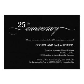 Elegante Skript-Jahrestags-Einladung (Schwarzes) 12,7 X 17,8 Cm Einladungskarte