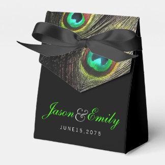 Elegante Smaragdgrün-Pfau-Hochzeit Geschenkkarton