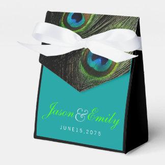 Elegante Smaragdgrün-Pfau-Hochzeit Geschenkkartons