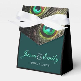 Elegante Smaragdgrün-und Goldpfau-Hochzeit Geschenkkarton