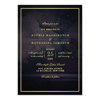 Elegante sternenklare Himmels-Hochzeit 12,7 X 17,8 Cm Einladungskarte