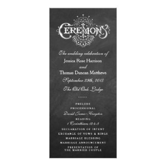 Elegante Tafel-Hochzeits-Zeremonie-Programme Werbekarte