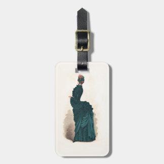 Elegante viktorianische Frauen-Vintages Mode-Kleid Kofferanhänger