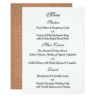 Elegante Vintage Hochzeits-Menü-Karte Karte