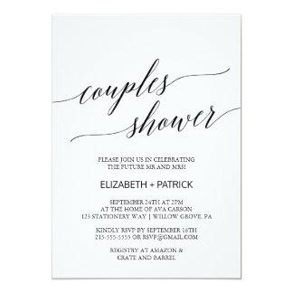 Elegante weiße und schwarze 12,7 x 17,8 cm einladungskarte