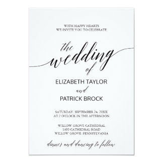 Elegante weiße und schwarze Kalligraphie-Hochzeit 12,7 X 17,8 Cm Einladungskarte