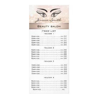 Elegante Wimpern u. glittery Menükarte der Personalisierte Werbekarte