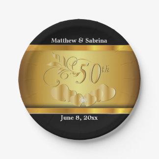 Eleganter 50. goldener Hochzeitstag Pappteller