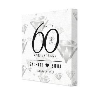 Eleganter 60. Diamant-Hochzeitstag Leinwanddruck