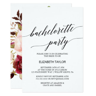 Eleganter BlumenJunggeselinnen-Abschied der 12,7 X 17,8 Cm Einladungskarte