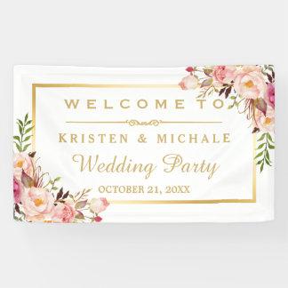 Eleganter Chic-Blumengoldrahmen-Hochzeits-Party Banner