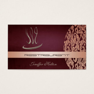 Eleganter Chicrestaurant-Cateringdamast Vintag Visitenkarten