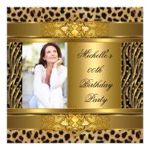 Eleganter Geburtstags-Party-Goldschwarzeszebra-Leo Individuelle Einladungskarten