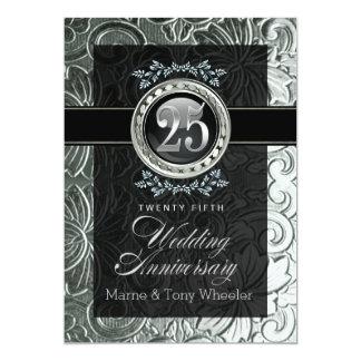 Eleganter Glamour geschnitzter Blumen25. Jahrestag 12,7 X 17,8 Cm Einladungskarte