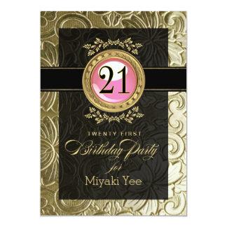 Eleganter Glamour prägeartiger 21. Geburtstag 12,7 X 17,8 Cm Einladungskarte