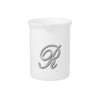 Eleganter Glasmonogramm-Buchstabe R Krug