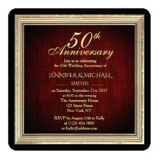 Eleganter goldener Rahmen-Hochzeitstag laden ein Karte
