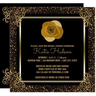 Eleganter GoldGlitter des GoldRosen-Brautparty-| Quadratische 13,3 Cm Einladungskarte