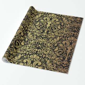 Eleganter GoldGlitter-königlicher schwarzer Damast Geschenkpapierrolle
