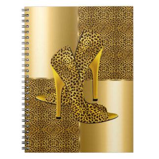 Eleganter Goldleopard-hoher Absatz beschuht Tier Spiral Notizbücher
