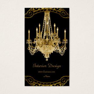 Eleganter Goldschwarz-Leuchter-Innenarchitektur Visitenkarten