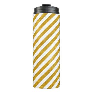 Eleganter Goldstreifen - Gewohnheit Ihre Farbe Thermosbecher
