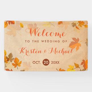 Eleganter Herbst-Ahorn verlässt Hochzeit im Herbst Banner