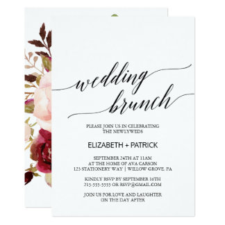 Eleganter hinterer Hochzeits-mit BlumenBrunch der Karte