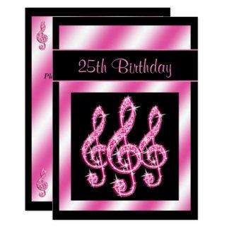Eleganter, hübscher rosa dreifache Clefs-25. 12,7 X 17,8 Cm Einladungskarte