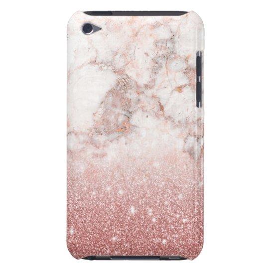 Eleganter Imitat-Rosen-GoldGlitzer weißes Barely There iPod Case