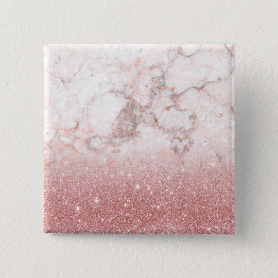 Eleganter Imitat-Rosen-GoldGlitzer weißes Quadratischer Button 5,1 Cm