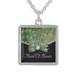 Eleganter Pfau u. Diamant-Hochzeit Sterling Silberkette