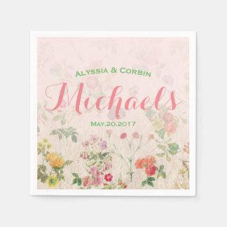 Eleganter romantischer rosa Hochzeits-mit Papierserviette