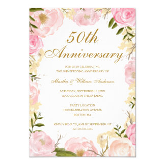 Eleganter rosa Hochzeits-Jahrestag der Rosen-50. 12,7 X 17,8 Cm Einladungskarte