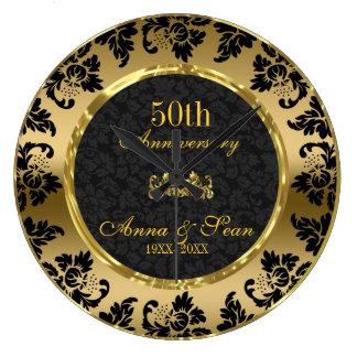 Eleganter Schwarz-u. des Gold50. Hochzeitstag Uhren