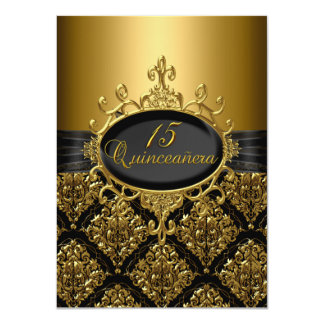 Eleganter Schwarz-u. Golddamast Quinceanera laden 11,4 X 15,9 Cm Einladungskarte