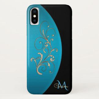 Eleganter Schwarz-und Türkis-Monogramm iPhone X