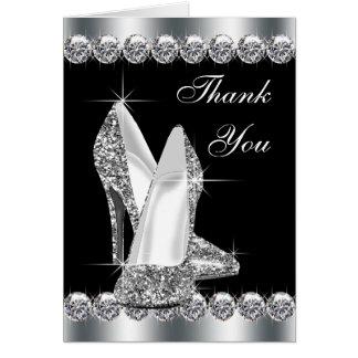 Eleganter schwarzer Absatz-Schuh danken Ihnen Karte