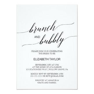 Eleganter schwarzer Kalligraphie-Brunch und 12,7 X 17,8 Cm Einladungskarte