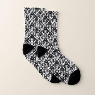 Eleganter schwarzer u. weißer Damast Socken