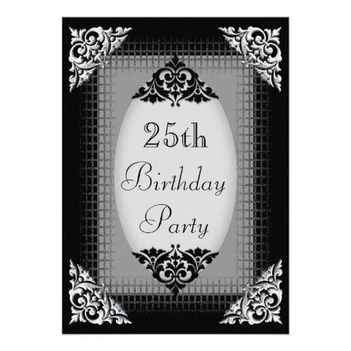 Eleganter schwarzer und silberner 25. Geburtstag Ankündigungskarte