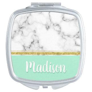 Eleganter tadelloser Marmor-und Goldindividueller Taschenspiegel
