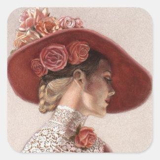 Eleganter viktorianischer Vintager Rosen-Hut Quadrataufkleber