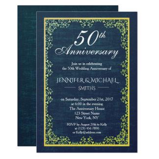 Eleganter Vintager Hochzeits-Jahrestag laden ein Karte