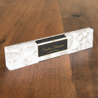 Eleganter weißes Goldmarmor-Name - Namensplakette