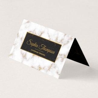 Eleganter weißes Goldmarmor-Name - Visitenkarte Visitenkarten