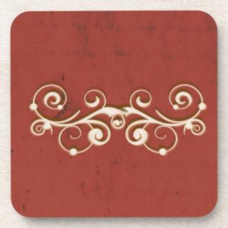 Eleganter Wirbel auf einem Rot Untersetzer